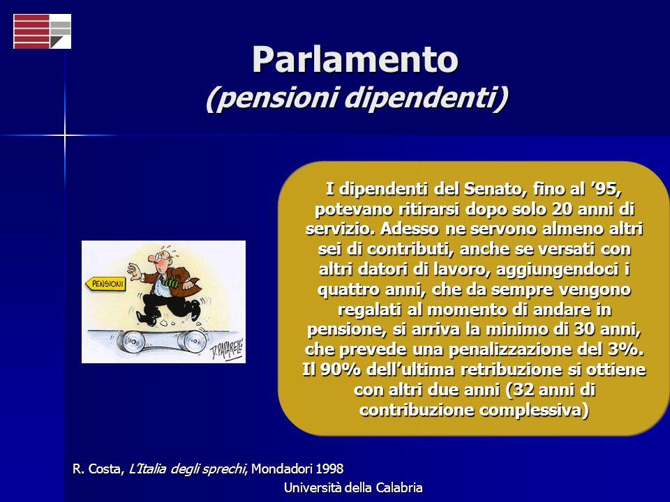 Università della Calabria Parlamento (pensioni dipendenti) I dipendenti del Senato, fino al 95, potevano ritirarsi dopo solo 20 anni di servizio.