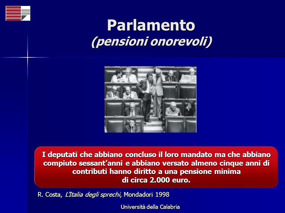Università della Calabria Parlamento (pensioni onorevoli) I deputati che abbiano concluso il loro mandato ma che abbiano compiuto sessantanni e abbiano versato almeno cinque anni di contributi hanno diritto a una pensione minima di circa 2.000 euro.