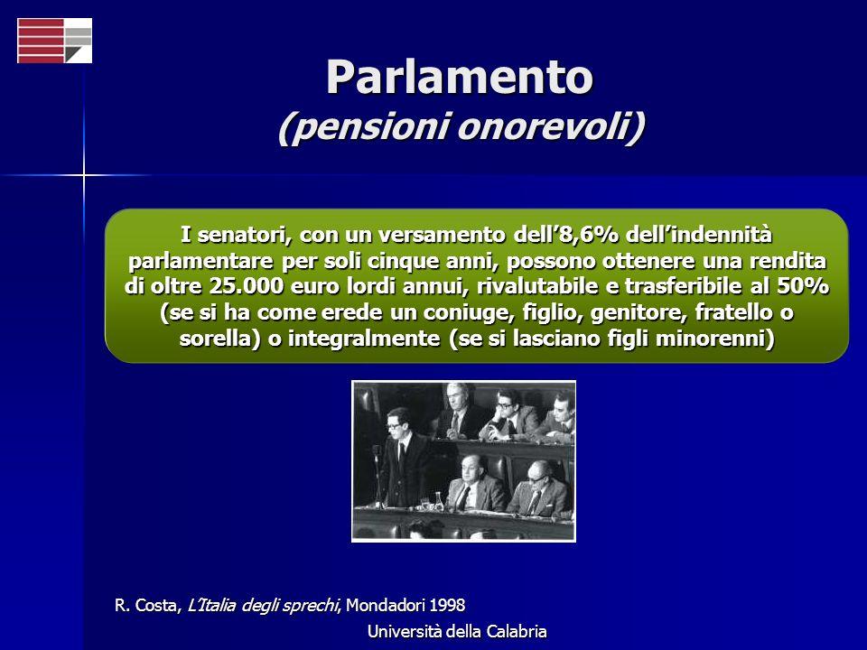 Università della Calabria Parlamento (pensioni onorevoli) I senatori, con un versamento dell8,6% dellindennità parlamentare per soli cinque anni, poss