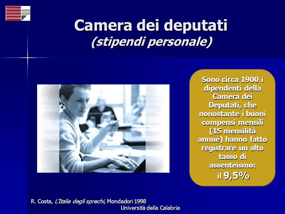 Università della Calabria Camera dei deputati (stipendi personale) Sono circa 1900 i dipendenti della Camera dei Deputati, che nonostante i buoni comp