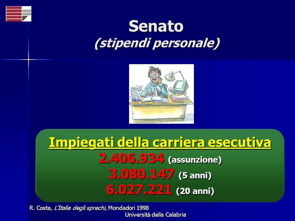 Università della Calabria Senato (stipendi personale) R. Costa, LItalia degli sprechi, Mondadori 1998 Impiegati della carriera esecutiva 2.406.934 (as