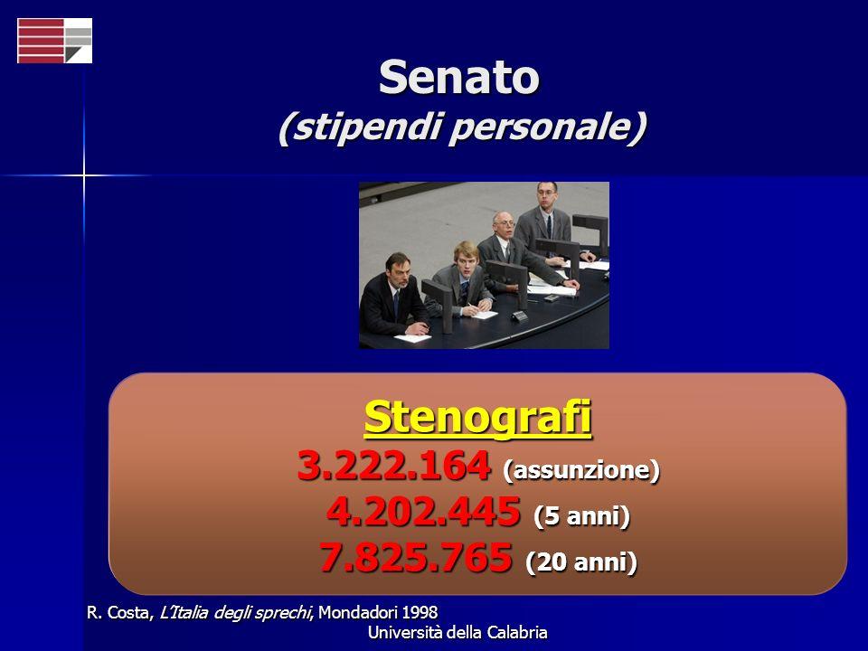Università della Calabria Senato (stipendi personale) R. Costa, LItalia degli sprechi, Mondadori 1998 Stenografi 3.222.164 (assunzione) 4.202.445 (5 a