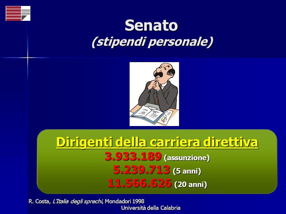 Università della Calabria Senato (stipendi personale) R. Costa, LItalia degli sprechi, Mondadori 1998 Dirigenti della carriera direttiva 3.933.189 (as