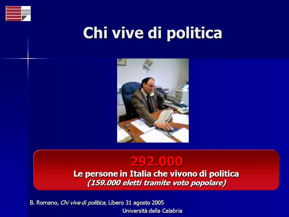 Università della Calabria Chi vive di politica B. Romano, Chi vive di politica, Libero 31 agosto 2005 292.000 Le persone in Italia che vivono di polit