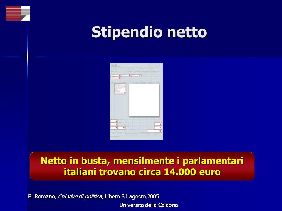 Università della Calabria Stipendio netto B. Romano, Chi vive di politica, Libero 31 agosto 2005 Netto in busta, mensilmente i parlamentari italiani t