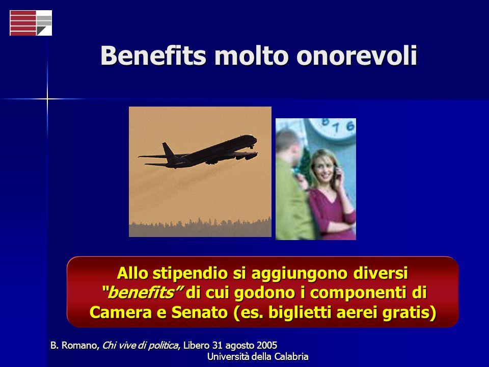 Università della Calabria Benefits molto onorevoli Allo stipendio si aggiungono diversi benefits di cui godono i componenti di Camera e Senato (es. bi