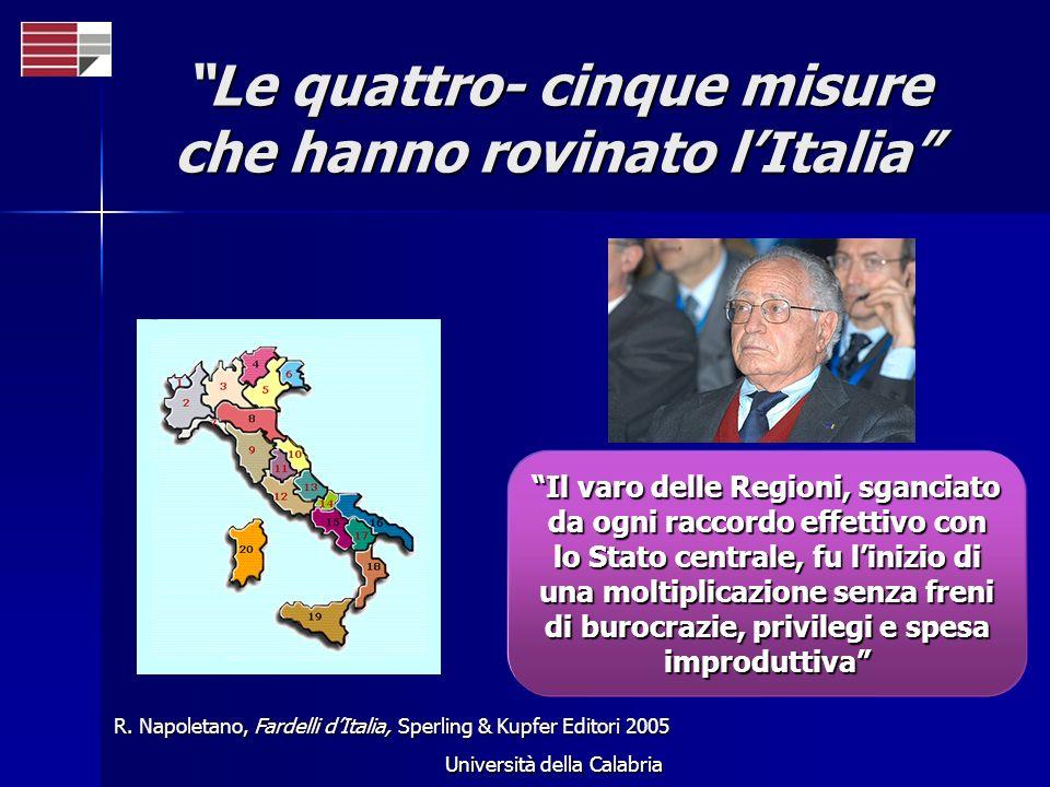 Università della Calabria Le quattro- cinque misure che hanno rovinato lItalia R. Napoletano, Fardelli dItalia, Sperling & Kupfer Editori 2005 Il varo