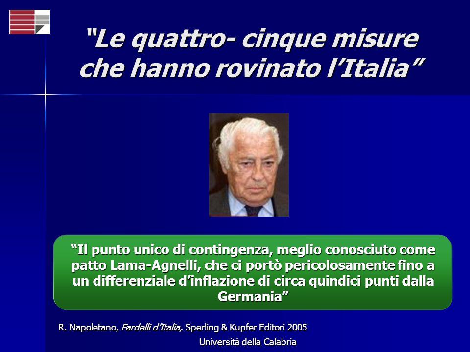 Università della Calabria Le quattro- cinque misure che hanno rovinato lItalia R. Napoletano, Fardelli dItalia, Sperling & Kupfer Editori 2005 Il punt