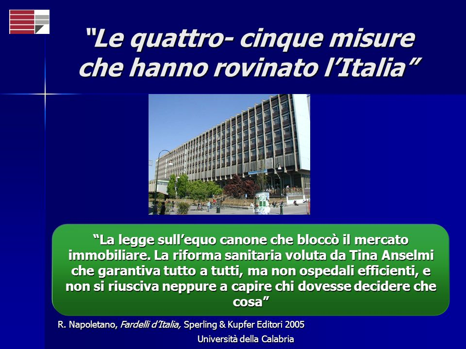 Università della Calabria Le quattro- cinque misure che hanno rovinato lItalia R. Napoletano, Fardelli dItalia, Sperling & Kupfer Editori 2005 La legg