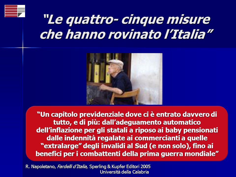 Università della Calabria Le quattro- cinque misure che hanno rovinato lItalia R. Napoletano, Fardelli dItalia, Sperling & Kupfer Editori 2005 Un capi