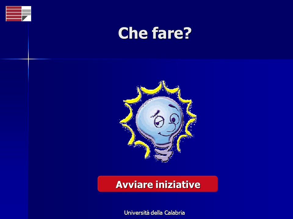 Università della Calabria Che fare? Avviare iniziative