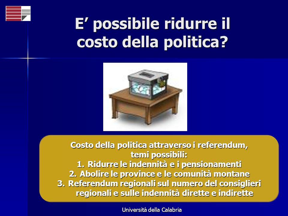 Università della Calabria E possibile ridurre il costo della politica? Costo della politica attraverso i referendum, temi possibili: 1.Ridurre le inde