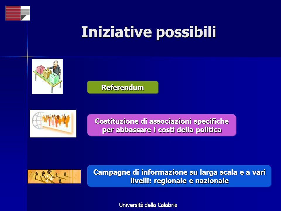 Università della Calabria Iniziative possibili Campagne di informazione su larga scala e a vari livelli: regionale e nazionale Costituzione di associazioni specifiche per abbassare i costi della politica Referendum