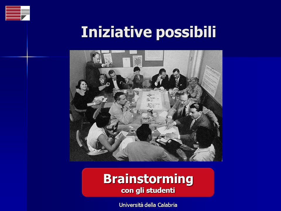 Università della Calabria Iniziative possibili Brainstorming con gli studenti