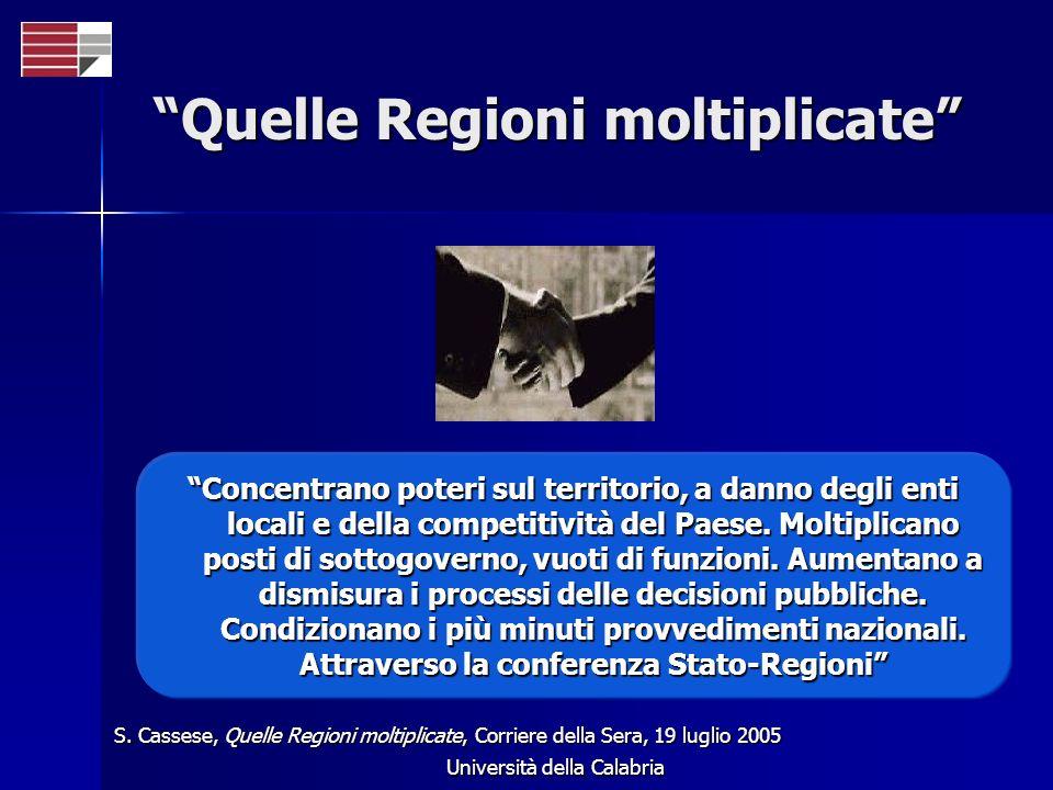 Università della Calabria Quelle Regioni moltiplicate Concentrano poteri sul territorio, a danno degli enti locali e della competitività del Paese.