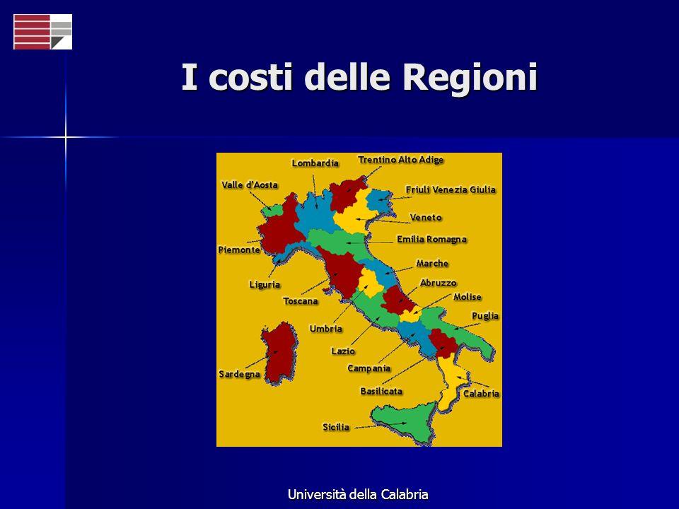 Università della Calabria I costi delle Regioni