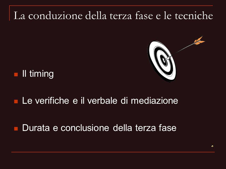 La conduzione della terza fase e le tecniche Il timing Le verifiche e il verbale di mediazione Durata e conclusione della terza fase