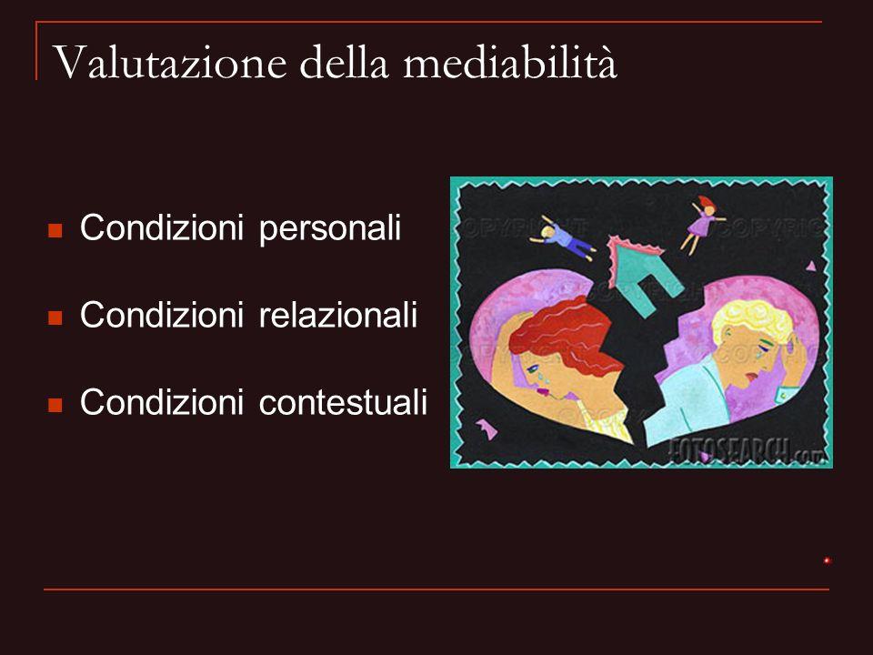 Valutazione della mediabilità Condizioni personali Condizioni relazionali Condizioni contestuali