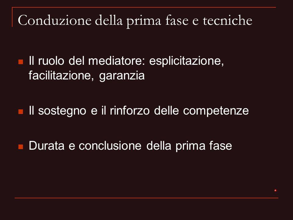 Conduzione della prima fase e tecniche Il ruolo del mediatore: esplicitazione, facilitazione, garanzia Il sostegno e il rinforzo delle competenze Dura