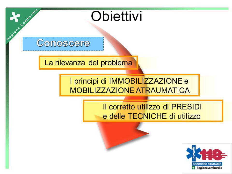 La rilevanza del problema I principi di IMMOBILIZZAZIONE e MOBILIZZAZIONE ATRAUMATICA Obiettivi Il corretto utilizzo di PRESIDI e delle TECNICHE di ut