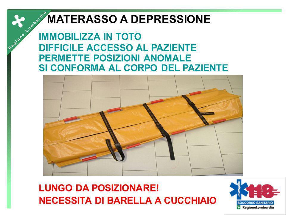 IMMOBILIZZA IN TOTO MATERASSO A DEPRESSIONE NECESSITA DI BARELLA A CUCCHIAIO DIFFICILE ACCESSO AL PAZIENTE PERMETTE POSIZIONI ANOMALE SI CONFORMA AL C