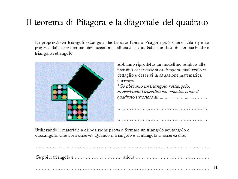 11 Il teorema di Pitagora e la diagonale del quadrato
