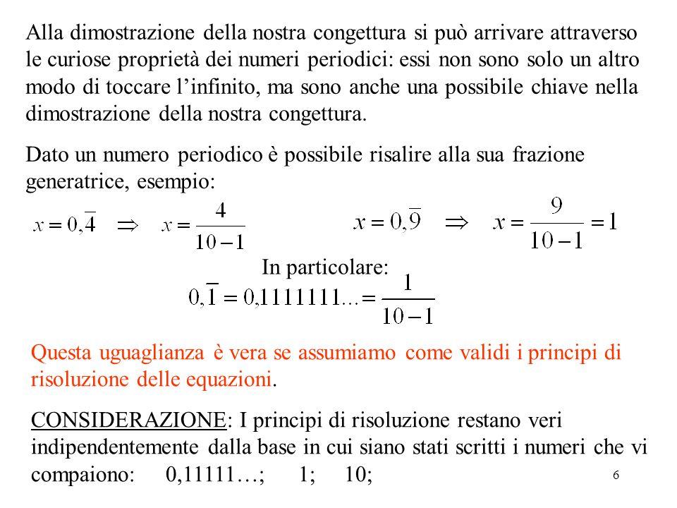 6 Alla dimostrazione della nostra congettura si può arrivare attraverso le curiose proprietà dei numeri periodici: essi non sono solo un altro modo di