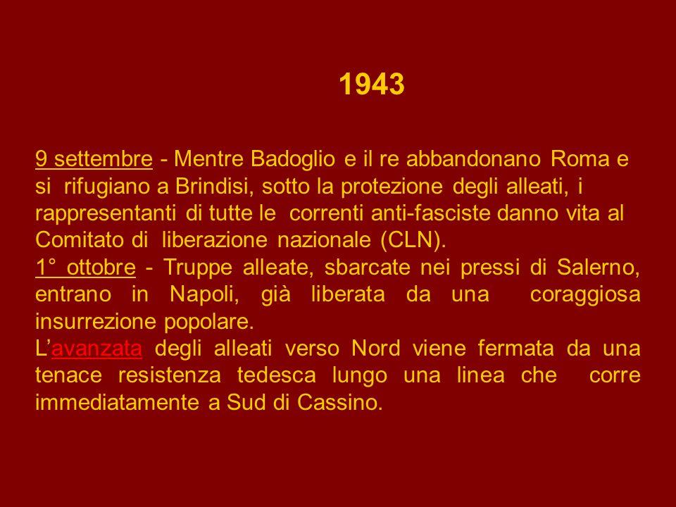 1943 12 novembre - Mussolini, prigioniero sul Gran Sasso, viene liberato da paracadutisti tedeschi e condotto in Germania dove proclama la sua intenzione di continuare la guerra al fianco dei tedeschi.