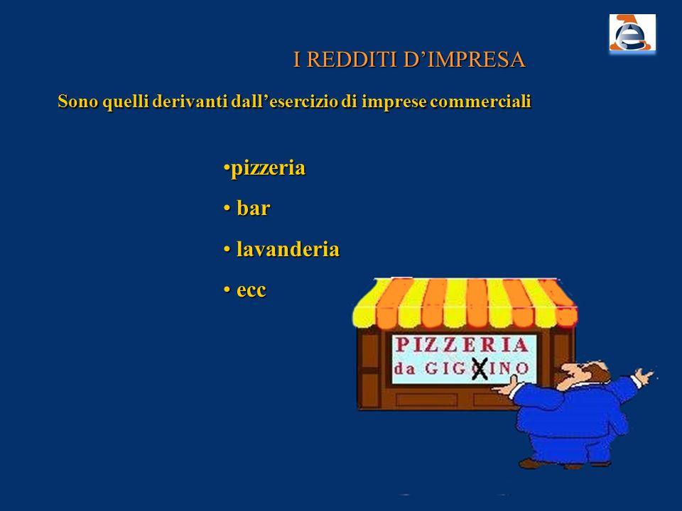 I REDDITI DIMPRESA Sono quelli derivanti dallesercizio di imprese commerciali pizzeriapizzeria bar bar lavanderia lavanderia ecc ecc