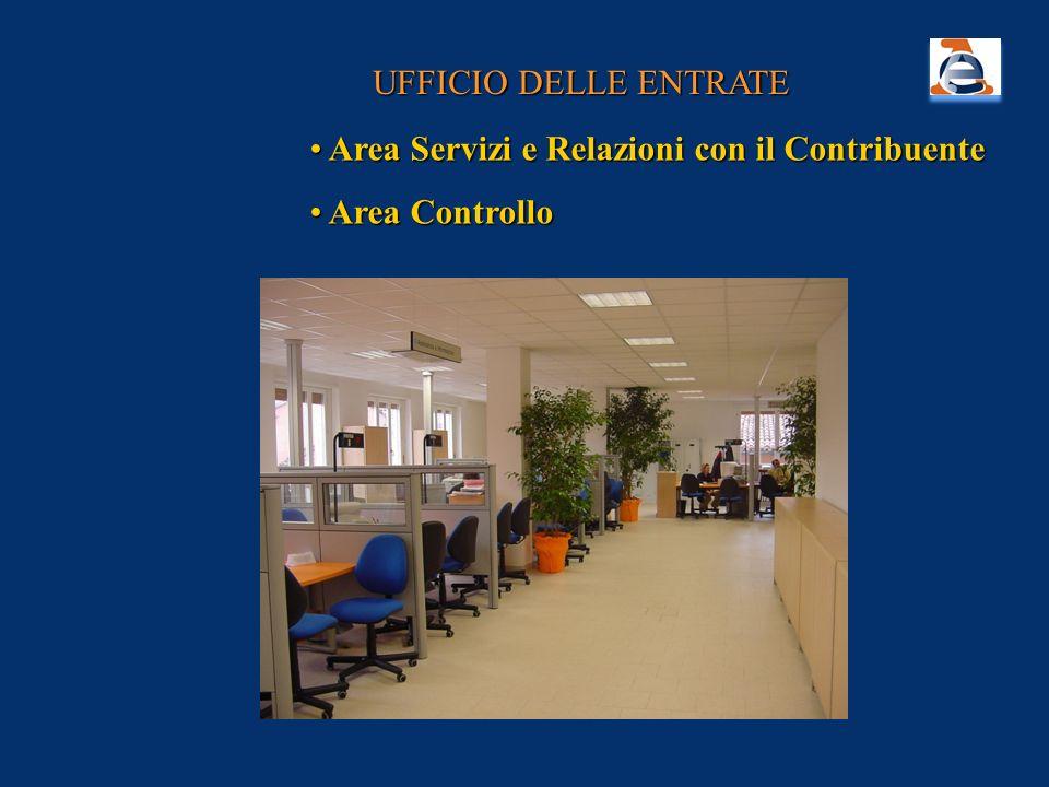 UFFICIO DELLE ENTRATE Area Servizi e Relazioni con il Contribuente Area Servizi e Relazioni con il Contribuente Area Controllo Area Controllo
