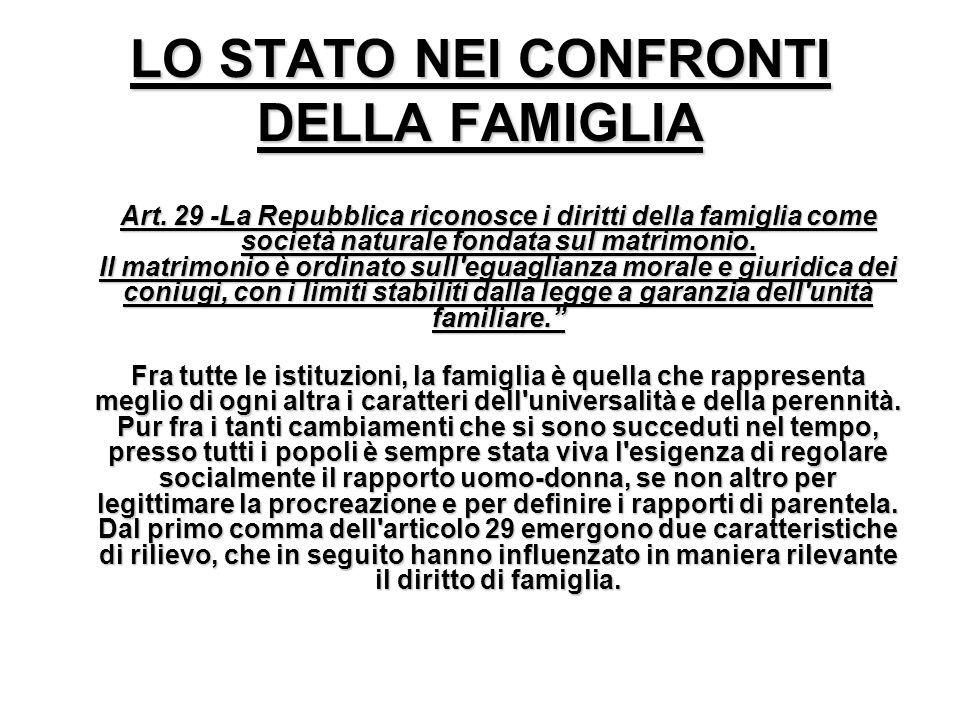 LO STATO NEI CONFRONTI DELLA FAMIGLIA A rt. 29 -La Repubblica riconosce i diritti della famiglia come società naturale fondata sul matrimonio. Il matr