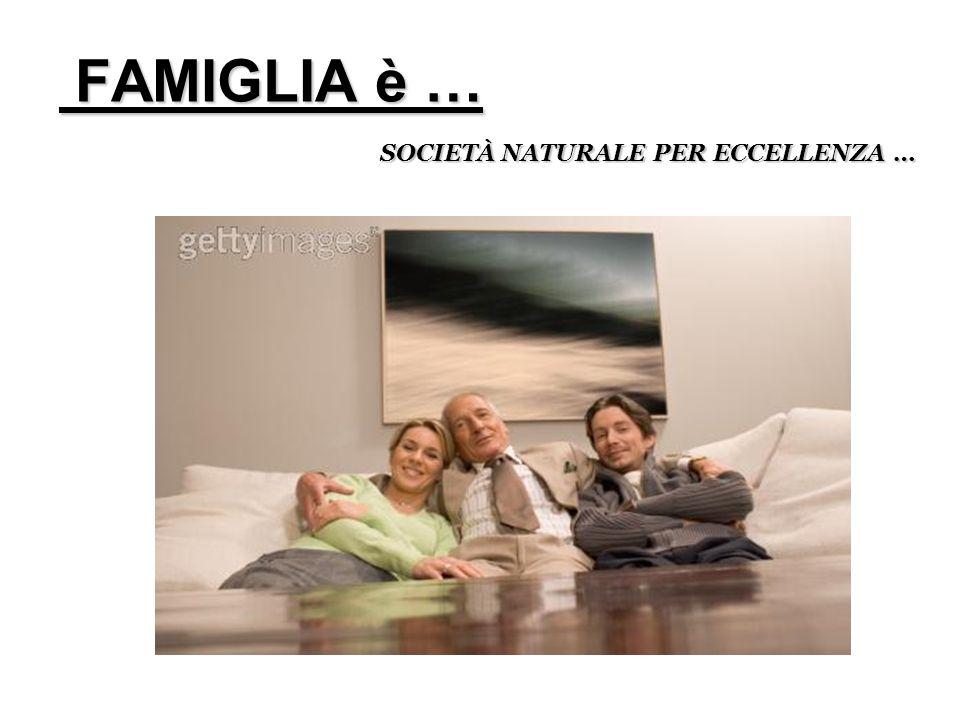 FAMIGLIA è … FAMIGLIA è … SOCIETÀ NATURALE PER ECCELLENZA …