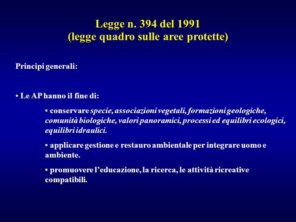 Legge n. 394 del 1991 (legge quadro sulle aree protette) Principi generali: Le AP hanno il fine di: conservare specie, associazioni vegetali, formazio