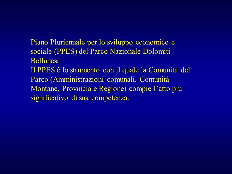 Piano Pluriennale per lo sviluppo economico e sociale (PPES) del Parco Nazionale Dolomiti Bellunesi. Il PPES è lo strumento con il quale la Comunità d
