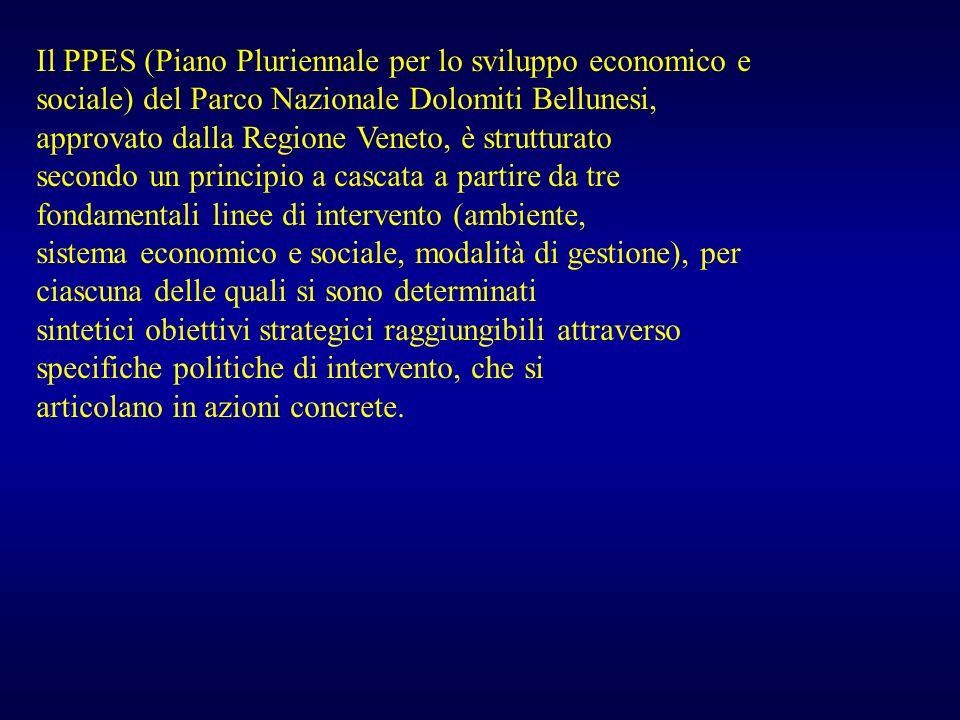 Il PPES (Piano Pluriennale per lo sviluppo economico e sociale) del Parco Nazionale Dolomiti Bellunesi, approvato dalla Regione Veneto, è strutturato