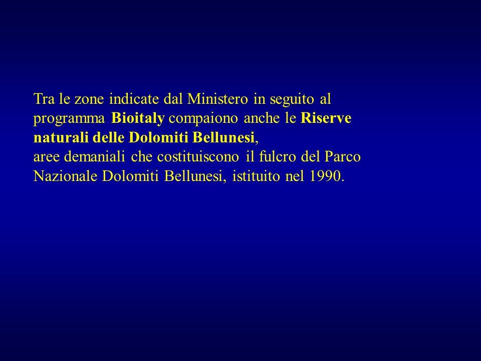 Tra le zone indicate dal Ministero in seguito al programma Bioitaly compaiono anche le Riserve naturali delle Dolomiti Bellunesi, aree demaniali che c