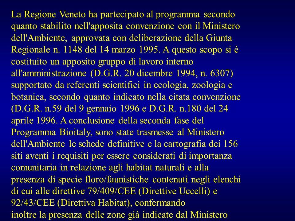 La Regione Veneto ha partecipato al programma secondo quanto stabilito nell'apposita convenzione con il Ministero dell'Ambiente, approvata con deliber