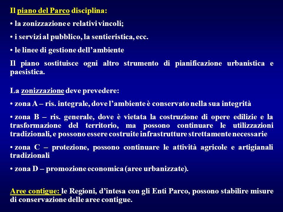 Il piano del Parco disciplina: la zonizzazione e relativi vincoli; i servizi al pubblico, la sentieristica, ecc. le linee di gestione dellambiente Il