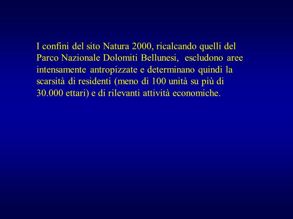 I confini del sito Natura 2000, ricalcando quelli del Parco Nazionale Dolomiti Bellunesi, escludono aree intensamente antropizzate e determinano quind