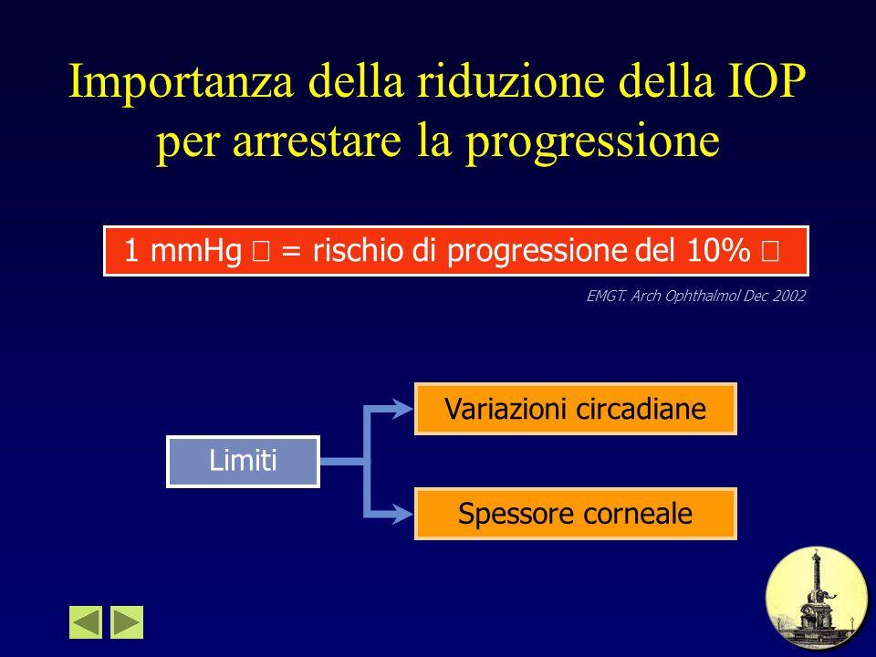 Importanza della riduzione della IOP per arrestare la progressione 1 mmHg = rischio di progressione del 10% EMGT. Arch Ophthalmol Dec 2002 Variazioni