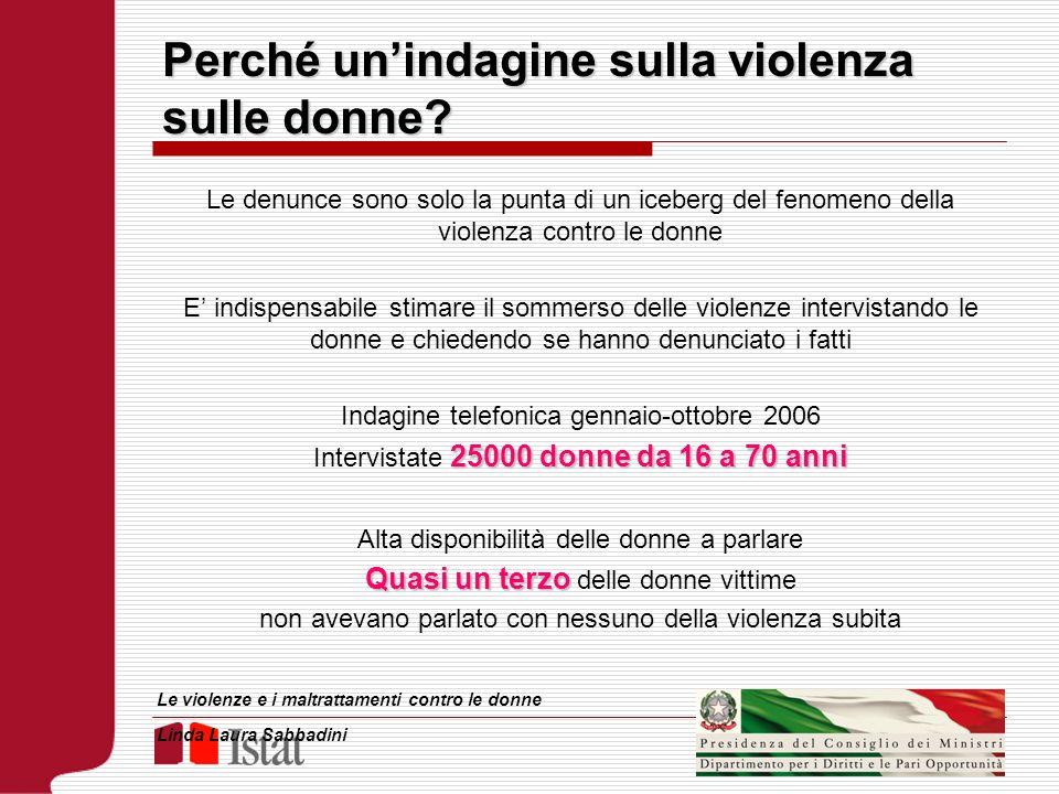 Perché unindagine sulla violenza sulle donne? Le denunce sono solo la punta di un iceberg del fenomeno della violenza contro le donne E indispensabile
