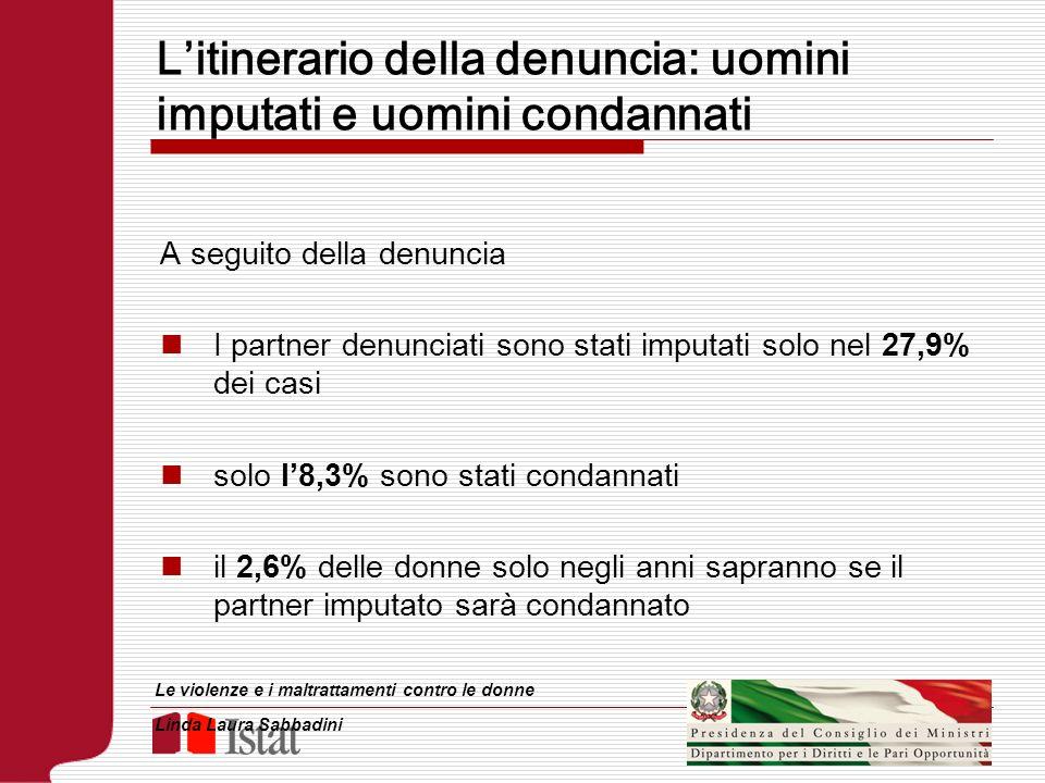 Litinerario della denuncia: uomini imputati e uomini condannati A seguito della denuncia I partner denunciati sono stati imputati solo nel 27,9% dei c