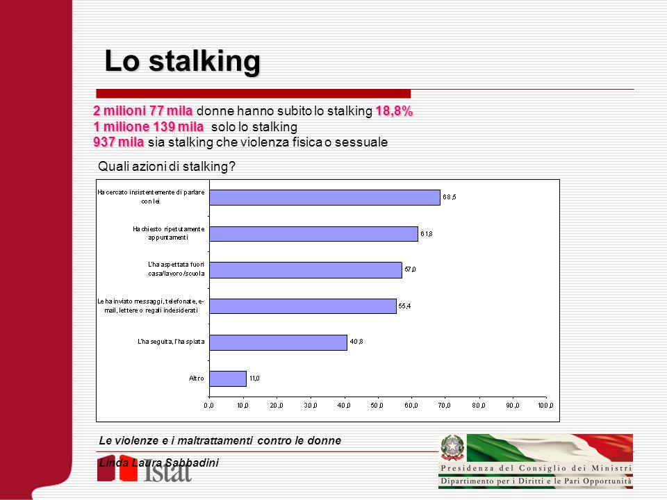 Lo stalking 2 milioni 77 mila18,8% 2 milioni 77 mila donne hanno subito lo stalking 18,8% 1 milione 139 mila 1 milione 139 mila solo lo stalking 937 m