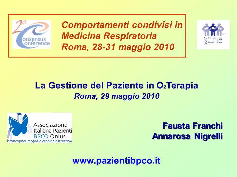www.pazientibpco.it La Gestione del Paziente in O 2 Terapia Roma, 29 maggio 2010 Comportamenti condivisi in Medicina Respiratoria Roma, 28-31 maggio 2010 Fausta Franchi Annarosa Nigrelli