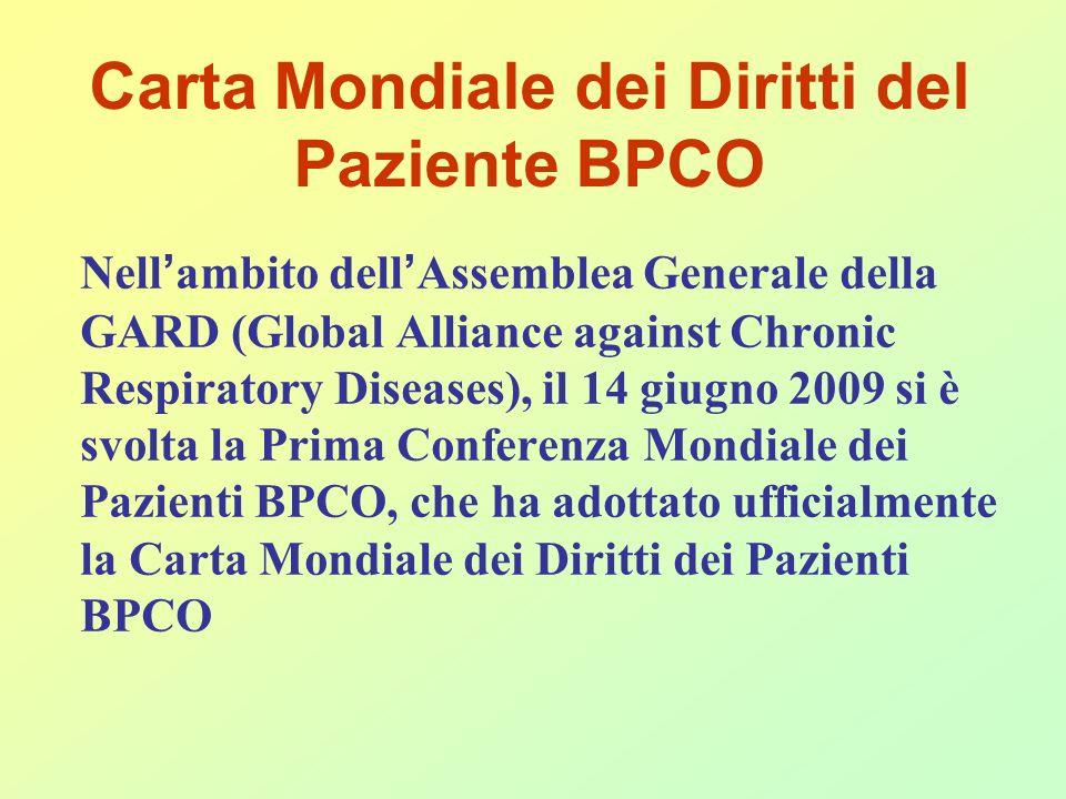Carta Mondiale dei Diritti del Paziente BPCO Nell ambito dell Assemblea Generale della GARD (Global Alliance against Chronic Respiratory Diseases), il 14 giugno 2009 si è svolta la Prima Conferenza Mondiale dei Pazienti BPCO, che ha adottato ufficialmente la Carta Mondiale dei Diritti dei Pazienti BPCO