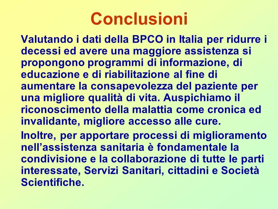 Conclusioni Valutando i dati della BPCO in Italia per ridurre i decessi ed avere una maggiore assistenza si propongono programmi di informazione, di educazione e di riabilitazione al fine di aumentare la consapevolezza del paziente per una migliore qualità di vita.