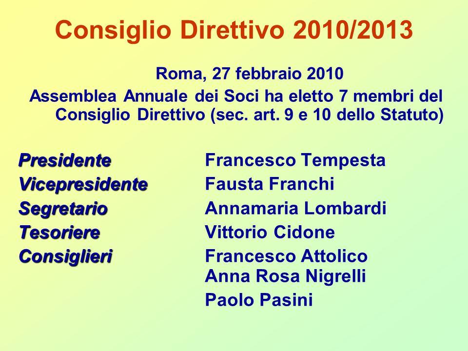 Consiglio Direttivo 2010/2013 Roma, 27 febbraio 2010 Assemblea Annuale dei Soci ha eletto 7 membri del Consiglio Direttivo (sec.