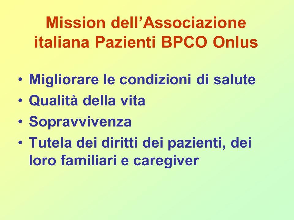 Mission dellAssociazione italiana Pazienti BPCO Onlus Migliorare le condizioni di salute Qualità della vita Sopravvivenza Tutela dei diritti dei pazienti, dei loro familiari e caregiver