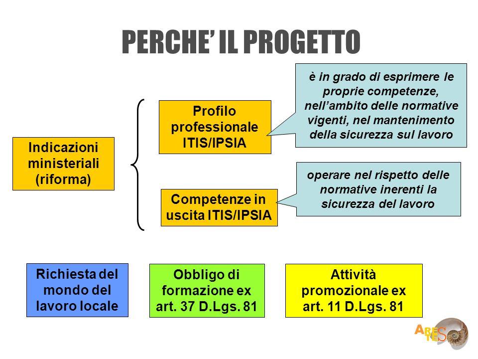 PERCHE IL PROGETTO Indicazioni ministeriali (riforma) Profilo professionale ITIS/IPSIA Competenze in uscita ITIS/IPSIA Richiesta del mondo del lavoro