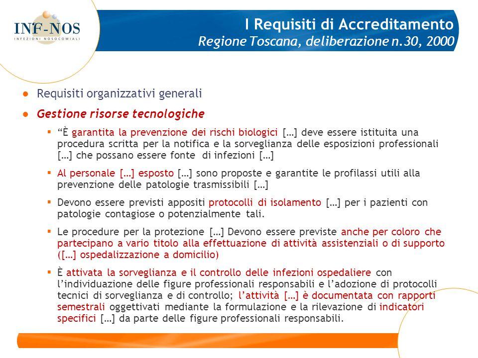 I Requisiti di Accreditamento Regione Toscana, deliberazione n.30, 2000 Requisiti organizzativi generali Gestione risorse tecnologiche È garantita la